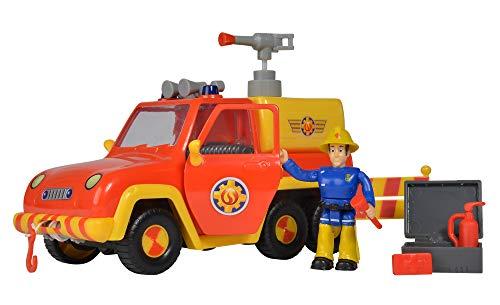 Simba 109257656 - Feuerwehrmann Sam Feuerwehrauto Venus, mit Elvis Figur, mit Originalsound und Wasserspritzfunktion, Türen zum Öffnen, 19cm, für Kinder ab 3 Jahren