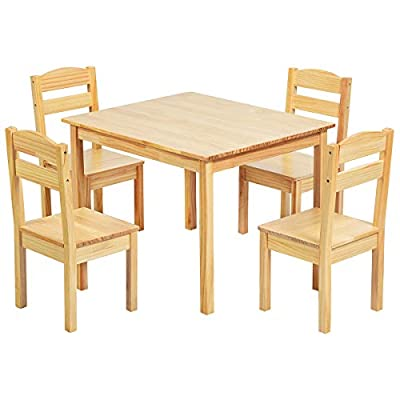 HAPPYGRILL Mini Table and Chairs Furniture Set, Children 5 Pieces Wood Table & Chair Set, Kids Table and Chairs for 2-6 Years