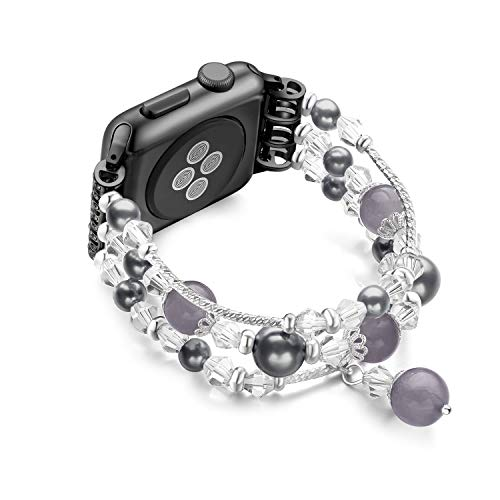 JuQBanke Compatible for Apple Watch Band 42mm 44mm, Jewelry Fashion Stretch Crystal Pearl Bracelet Replacement Womens Strap, Compatible for iWatch Series 5/4/3/2/1(Black, M/L)