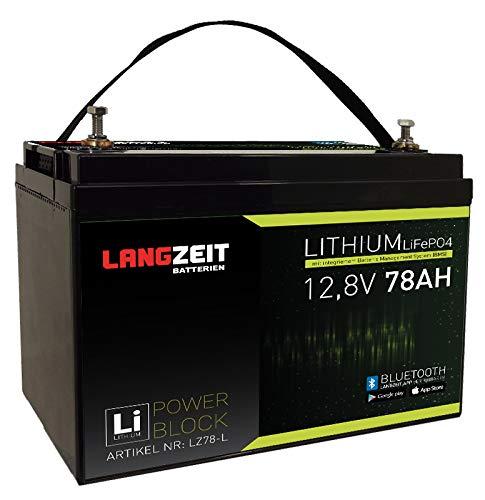 LANGZEIT Lithium Batterie 78Ah 12V LiFePO4 Akku Solar Wohnmobil Boot Rollstuhl (78AH)