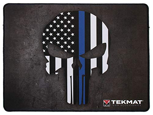 TekMat Thin Blue Line Punisher Police Support Ultra Premium Gun Cleaning Mat, Black, 15' x 20'