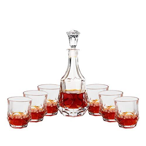 Kit de 7 pièces Whisky, avec Carafe à Décanter et Bouchon, Verre en Cristal, Bouteille de Whisky 800ml avec 6 Verres à Whiskey 300ml