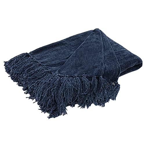 RECYCO Manta con flecos, 127 x 152 cm, de felpilla, manta de punto, manta suave para cama, sofá, silla (azul marino)