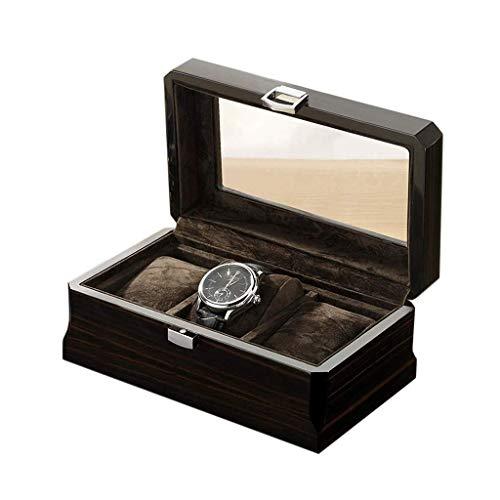 CWC 3 Fächer Holz Uhrenvitrine Glasplatte Schmuckkollektion Aufbewahrungsbox Aufbewahrungstasche Kirschholz GAONAN