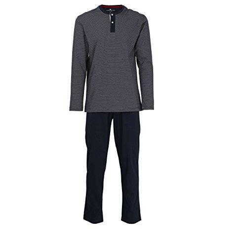 TOM TAILOR Herren Pyjama, Schlafanzug, Shirt und Hose, Langarm, Baumwolle, Single Jersey, blau gestreift 102