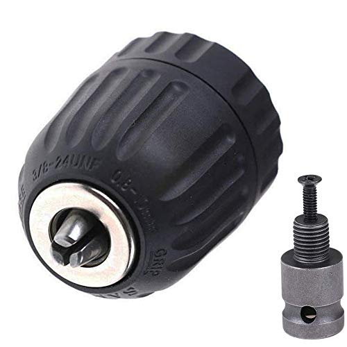 Bestgle 0.8-10 mmドリルチャックインパクトレンチ変換ツール 1/2インチアダプターソケット電動ドリル電動工具アクセサリー ブラック