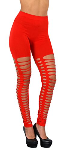 ESRA Damen Leggings Leggins Legings Hose mit Rissen Schlitz Netz Leggings L105
