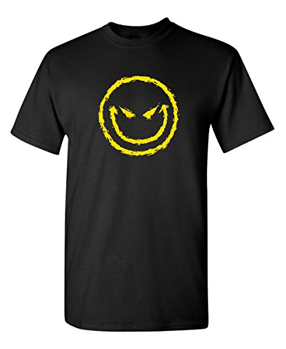 Evil Smile Face Graphic Novelty Sarcastic Funny T Shirt 2XL Black