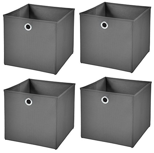 StickandShine 4er Set Dunkelgrau Faltbox 28 x 28 x 28 cm Aufbewahrungsbox faltbar