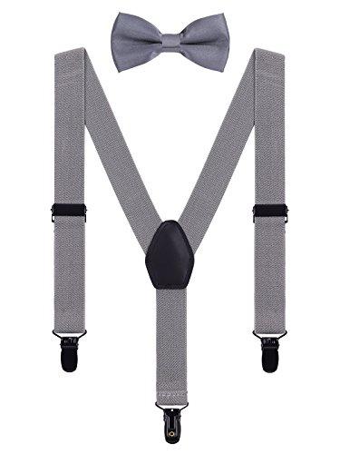 WANYING Kinder Baby Hosenträger Fliege Set 1-5 Jahre Jungen Mädchen 3 Schwarz Clips Y-Form Elastisch Hosenträger für Kleinkind - Grau