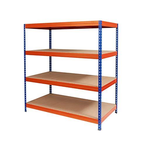 Schwerlastregal Taurus | stabiles Steckregal für Keller, Lager und Garage | Traglast 875 oder 1400 kg | viele Größen | verschiedene Farben | 200x150x80 cm – blau-orange