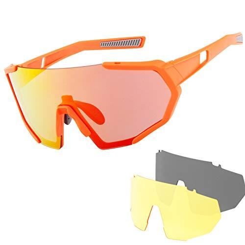 Sportbril Gepolariseerde Zonnebril, Uv400 Beschermende Heren Fietsbril Voor Dames, Met 3 Verwisselbare Lenzen,D