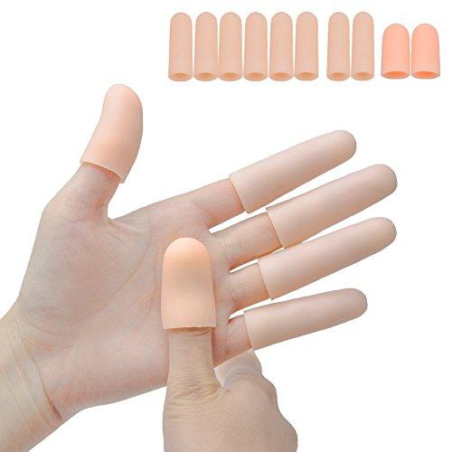 Sumifun Fingerschutz-Unterstützung, Gel-Fingerlinge (10 PCS) Finger-Handschuhe, Finger-Hülsen, die für Triggerfinger