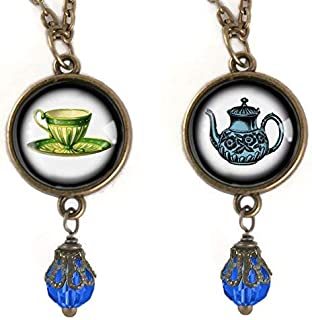 Reversible Teapot and Teacup Necklace in Blue and Yellow
