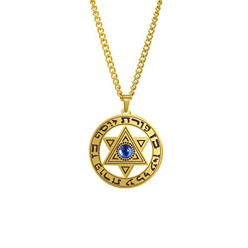 Star Of David Vintage Necklace Blue Rhinestone Hebrew Religious Charms For Men Women New Year Gifts Stainless Steel Gold 60Cm