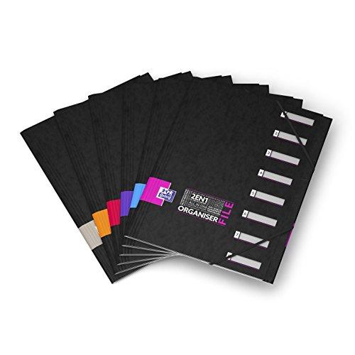 Oxford OrganiserFile Trieur 8 Compartiments Format A4 Fermeture Elastique Couverture Carte Pelliculée Couleur Aléatoire