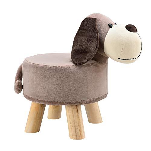 [en.casa] Kinderhocker Hund Sitzhocker Tier Hocker Kinderstuhl Tierhocker Stuhl Holzbeine Belastbarkeit bis 150kg Flanell Bezug gepolstert Dekohocker für Kinder