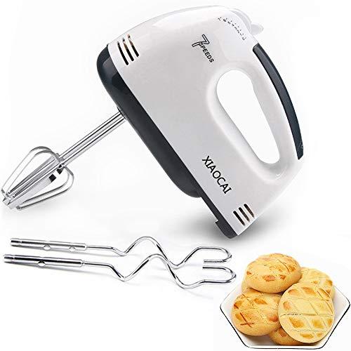 Elektrischer Handmixer, elektrischer Schneebesen Handkuchenmischer 7-Gang 180W Lebensmittelmixer Handmehl-Brotmixer zum Backen 2 x Schläger 2 x Teighaken