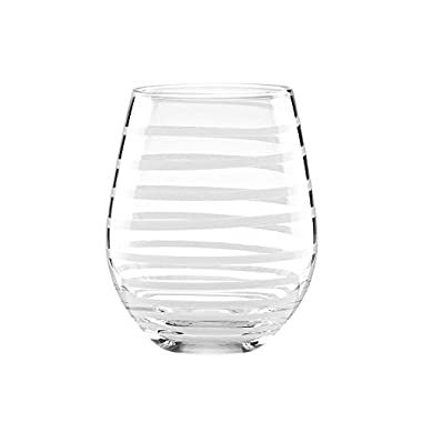 kate Spade New York Charlotte Street Stemless Wine Glasses in White (Set of 2)