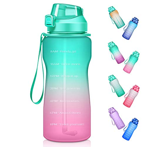 Ahape Half Gallon/64 oz Motivational Water Bottle with Time Marker & Straw, Large Daily Water Jug for Fitness Gym Outdoor Sports, Remind of All Day Hydration, Leak Proof, BPA Free, Green+Pink