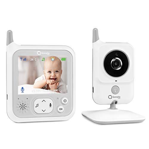 Lionelo Babyline 7.1 babyfoon met camera en ontvanger bereik tot 260 m communicatie in beide richtingen nachtmodus temperatuursensor 8 slaapliedjes wit
