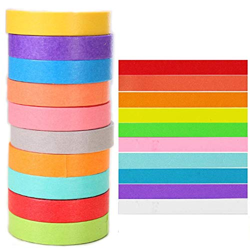Limeow Washi Tape Cinta Decorativa en Colores Pastel Cinta Adhesiva Washi Simple Cinta Decorativa en Colores Pastel para Bricolaje para Crear Etiquetas o Agregar Notas Destacadas 10 Piezas