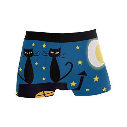 JIRT Calzoncillos Boxer de los Hombres Lindos Dibujos Animados Gatos Luna Estrella Ropa Interior Transpirable Estiramiento Troncos Bolsa de Bombeo Calzoncillos Suaves