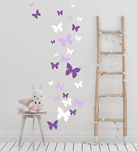 Butterfly Wall Decals Beautiful Girls Wall Stickers Wall Art Vinyl Stickers for Bedroom Peel and Stick Kids Room Decor Nursery Toddler Teen Decorations Playroom Birthday Gift (Lilic,Lavender,White)