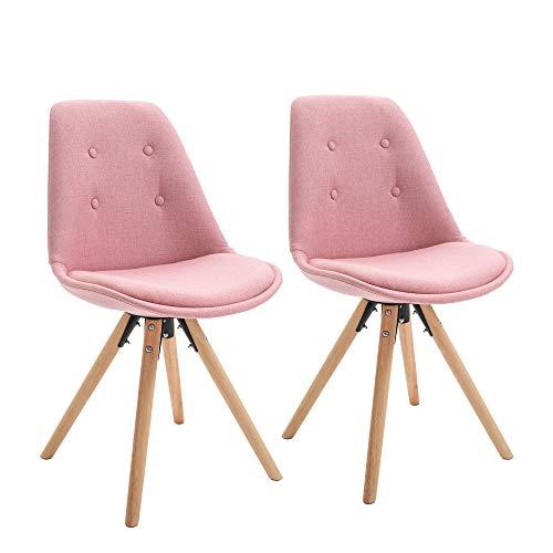 homcom Set 2 Sedie Imbottite per Sala da Pranzo con Design Moderno ed Ergonomico in Legno e Lino Rosa, 48x56x87cm