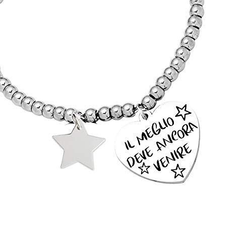Beloved Bracciale da donna, braccialetto in acciaio emozionale - frasi, pensieri, parole con charms - ciondolo pendente - misura regolabile - incisione - argento (BL4)