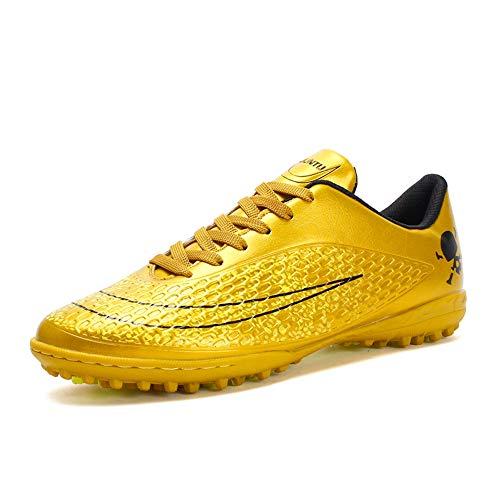 Botas de fútbol Zapatillas de fútbol Profesionales Unisex Confort de Alta tecnología Clavo Roto Norma Europea Código 35 Oro