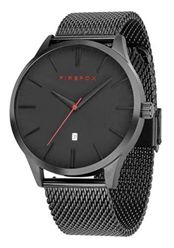 FIREFOX Herren- Armbanduhr XCHANGE analog Quarz Edelstahl Milanaise Mesh Armband Zifferblatt schwarz Datumsanzeige 5 ATM wasserdicht FFPL01-002
