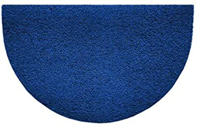 Nicoman Embossed Halfmoon Half Circle Door Mat Dirt-Trapper Jet-Washable Doormat 70x44cm (Blue, Plain) - Use Indoor or Sheltered Outdoor