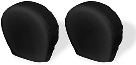 Explore Land Tire Covers 2 Pack - Tough Vinyl Tire Wheel Protector for Truck, SUV, Trailer, Camper, RV - Universal Fits Tire Diameters 29-31.75 inches, Black
