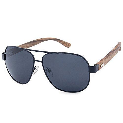 Ppy778 Gafas de Sol de Madera Retro Vintage Designer Wayfarer Aviator Gafas de Sol Deportivas al Aire Libre UV400 (Color : Gray)