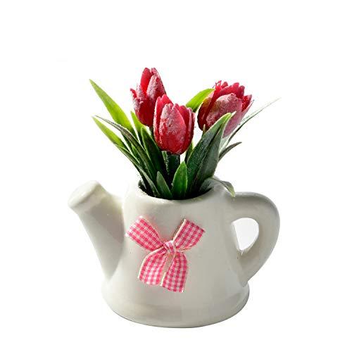 Kunstbloemen & Gedroogde Bloemen - Kunstbloemen Tulp Keramische Pot Kleine Bonsai Fake Party Tuin Decoratie Boerderij Decor - Gedroogde Bloemen Kunstmatig roze