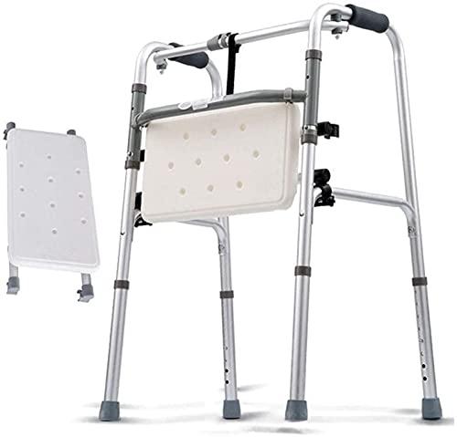 Silla de Ducha Plegable Andador con Andador, Andador geriátrico para Ancianos - Marco de Ayuda para la Movilidad de Altura Ajustable, muleta con Asiento Acolchado
