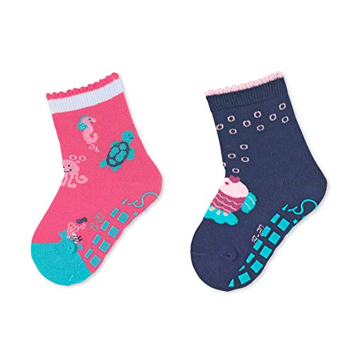 Sterntaler Baby-Mädchen ABS-Söckchen DP Meerestiere Socken, Dunkelblau/Pink, 21-22