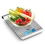 himaly Báscula Digital para Cocina de Acero Inoxidable, 5KG/11 LB, Báscula Balanzas de Alta Precisión Balanza de Alimento Multifuncional, Peso de Cocina con LCD(Baterías Incluidas) (estilo 1)