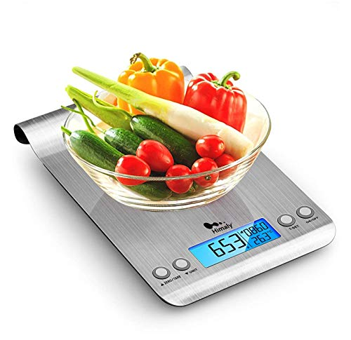 Himaly Bilancia da Cucina, 5Kg/1g Bilancia Elettronica Digitale Alta Precisione Misurazione Display LCD Multifunzione da Cucina e Acciaio Inossidabile Usato Come Sveglia (2 Batterie Incluse)