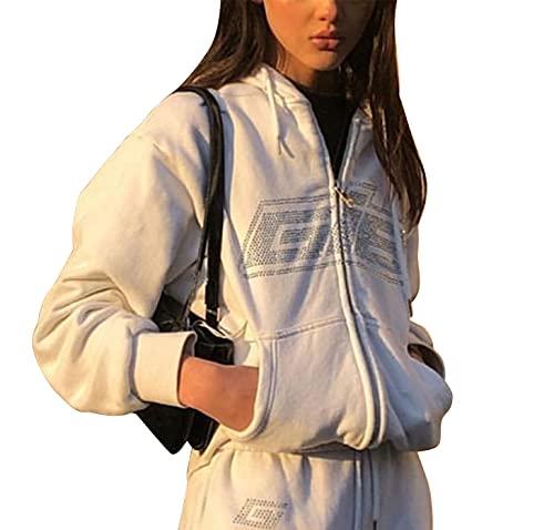 Geagodelia Damen Kapuzenjacke Kapuzenpullover Vintage Sweatjacke Sweatshirt College Jacke Übergangsjacke Zip Hoodie Hoody mit Kapuze Y2K Fashion Top Frühling Herbst (Weiß, M)