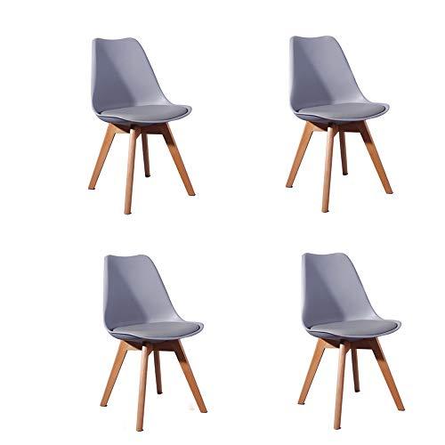 Comfortableplus Pack de 4 sillas de Comedor/Oficina con Madera de Haya Piernas para Comedor/Sala de Estar/Café/Restaurante, Gris