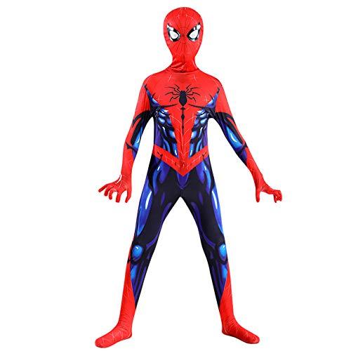 FSMJY Spiderman Kostüm Kinder 3-4 Erwachsene Kinder Muskel Spider-Man Bodysuit 3D Print Kostüm Jumpsuit Für Halloween Karneval,Spiderman-100~110cm