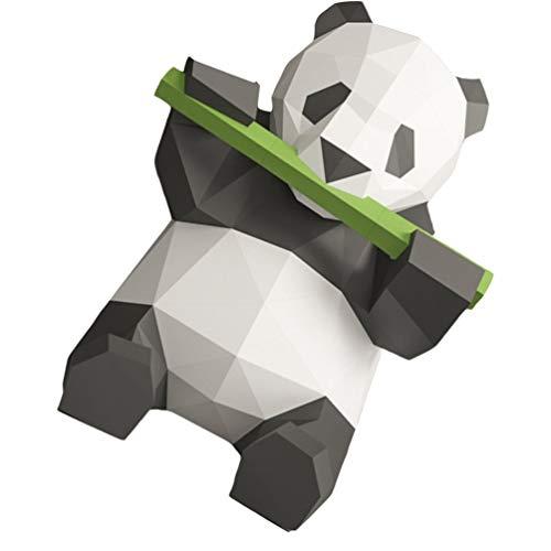 jojofuny Papel Panda Modelo 3D Dibujos Animados Geométricos Origami Panda Come Escultura de Bambú DIY Hecho a Mano Estereoscópico Papel Animal para Niños Tarjeta de Papel