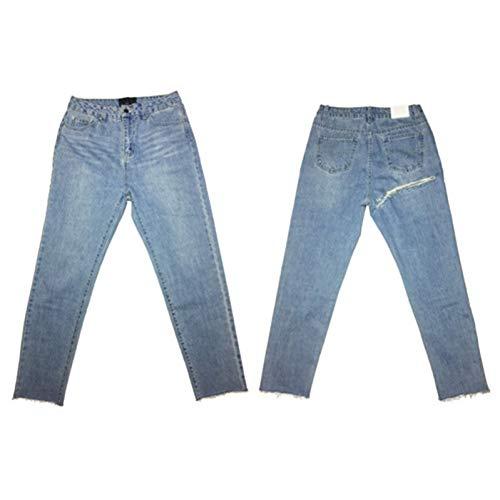KBCJUA Street Style Frauen Lange Jeans Weibliche Sexy Shredded Jeans Slim Pack Hüftjeans Casual Denim Pants Fashion