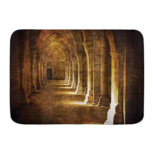 Yhouqukhdeueh Alfombrillas para baño, Arco gótico en la Oscuridad Fotografía de Arquitectura histórica de Edificio Antiguo Imagen,con Respaldo Antideslizante,29.5