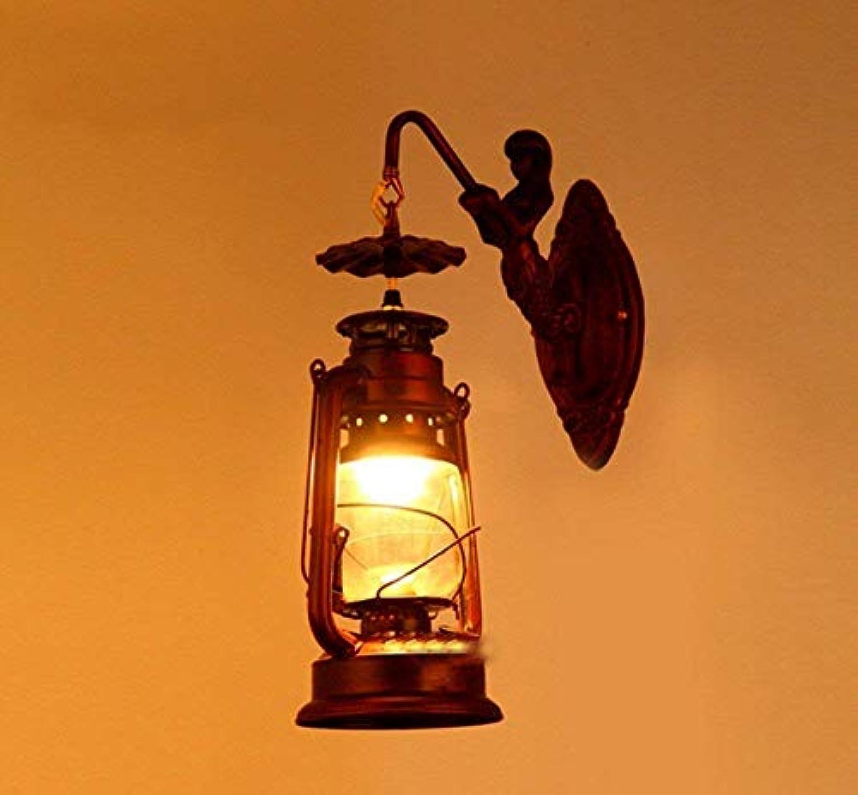 FuweiEncore Mittelmeer-Continental Eisen Persnlichkeit Wand Laterne Lampe, Retro-Running Lights Die Antike Bar CAF & Eacute; Restaurants Elektrische Glühbirnen (Farbe   -, Gre   -)