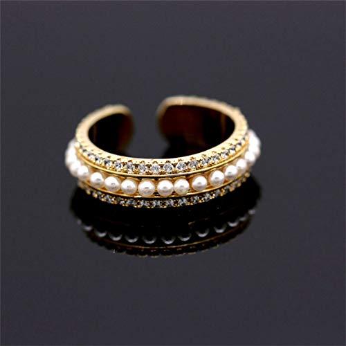 WWLZ Row Drill Zircon Full Circle Petite Perle Multi-couche Ouverture Bague Réglable Femme Multi-Perles, Diamètre intérieur : 17 mm - Taille unique - Réglable