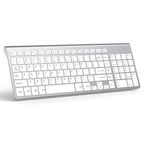 Wireless Keyboard, J JOYACCESS 2.4G Slim and Compact Wireless Keyboard-White+Silver