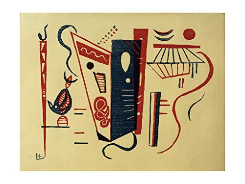 Wassily Kandinsky - Coloured woodcut of two sticks and blossoms Print 60x80cm